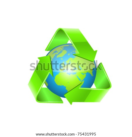 Recycling arrows and blue globe - stock vector