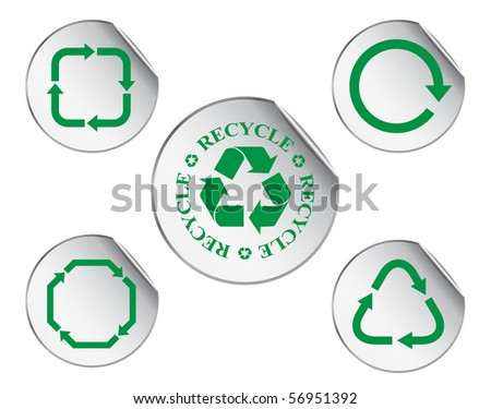 recycling arrows on stickers - vector set - stock vector