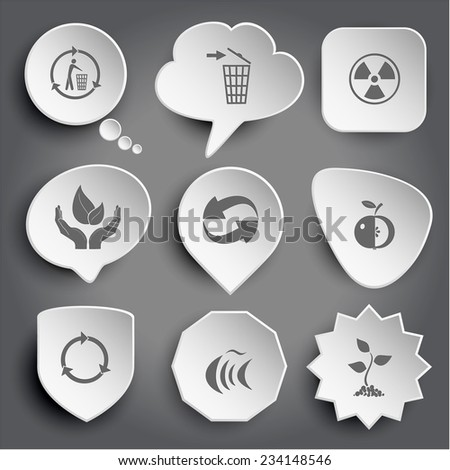 recycling bin, radiation symbol, life in hands, recycle symbol, apple, fish, sprout. White vector buttons on gray. - stock vector