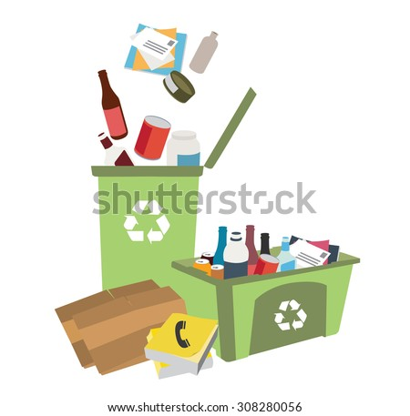 recycling bins illustration with garbage - stock vector