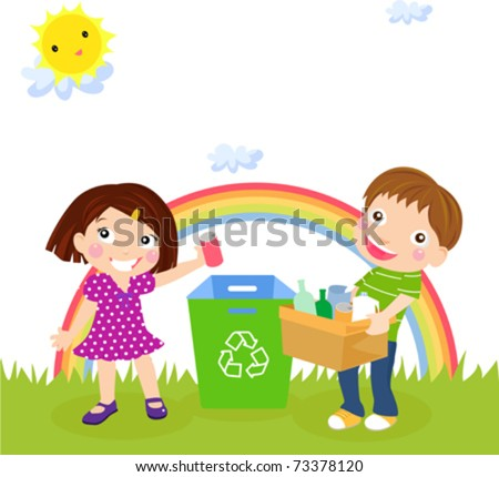 Recycling boy and girl - stock vector