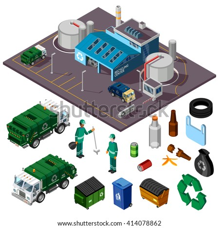 Recycling center isometric design concept with trucks garbage cleaners and elements for collecting and sorting trash vector illustration  - stock vector