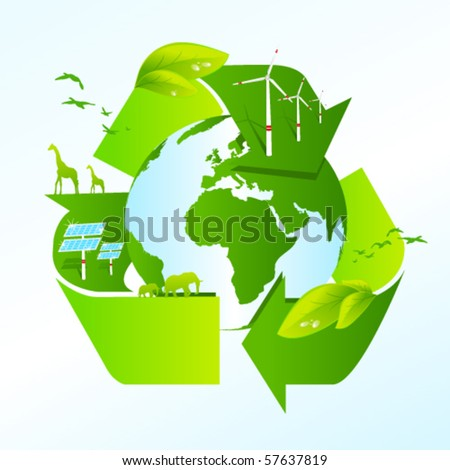 Recycling earth with the recycle symbol - stock vector