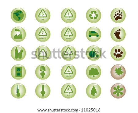 recycling & environment icons - stock vector