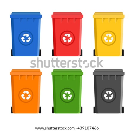 recycling garbage container bin cans flat design - stock vector