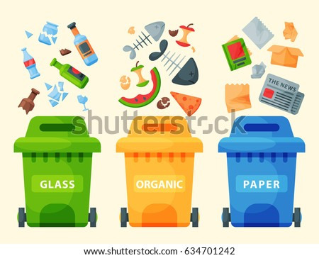 Recycling garbage elements trash bags tires management industry utilize waste can vector illustration.
