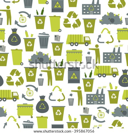 Recycling garbage icons seamless pattern. Waste utilization. Vector illustration. - stock vector
