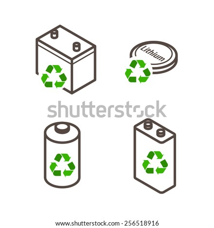 Recycling icons - dry cell battery, lead acid battery, lithium battery.  - stock vector