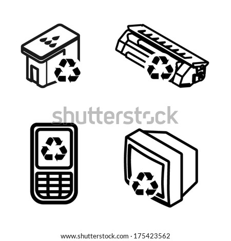 Recycling icons - printer ink cartridge, toner cartridge, mobile/cellular phone, and old tv/electronics. - stock vector