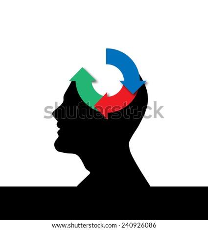 Recycling mind vector artwork  - stock vector