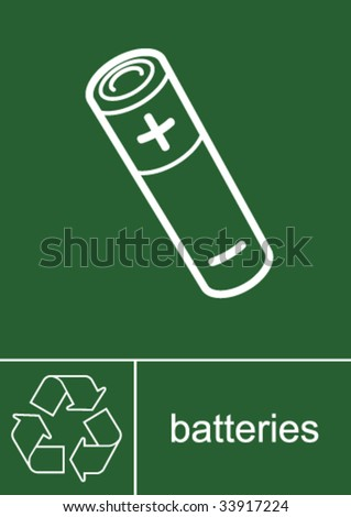 Recycling Sign Batteries - stock vector