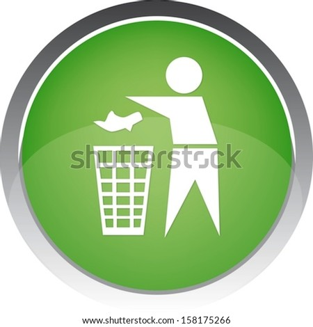 Recycling Sign Button Icon  - stock vector