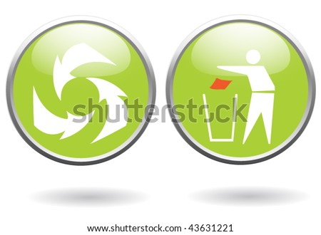 recycling sign buttons - stock vector