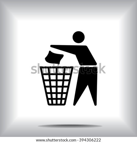 Recycling sign icon, vector illustration. Flat design style  - stock vector
