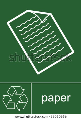Recycling Sign Paper - stock vector