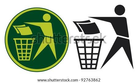 Recycling Sign (Recycling Sign Label, Recycling Sign Button Icon) - stock vector