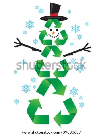 Recycling Snow Man - stock vector