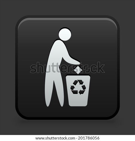 Recycling Trash Icon on Black and White Button