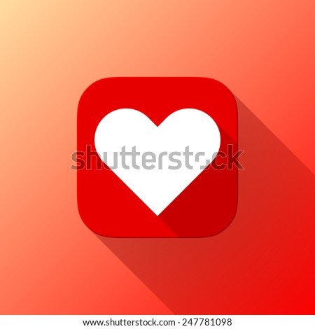 red abstract app icon with white valentines heart sign button template with flat designed shadow