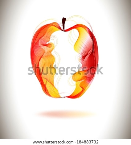 Red abstract apple illustration, VECTOR