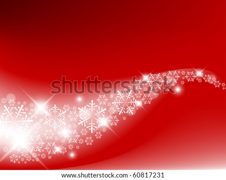 Red Abstract Christmas background with white snowflakes - stock vector