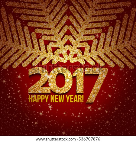 Red abstract Christmas snowflake and 2017 New Year text with lights and sparkles. Vector illustration
