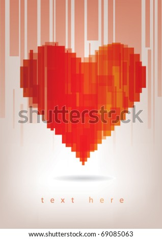 Red abstract heart - stock vector