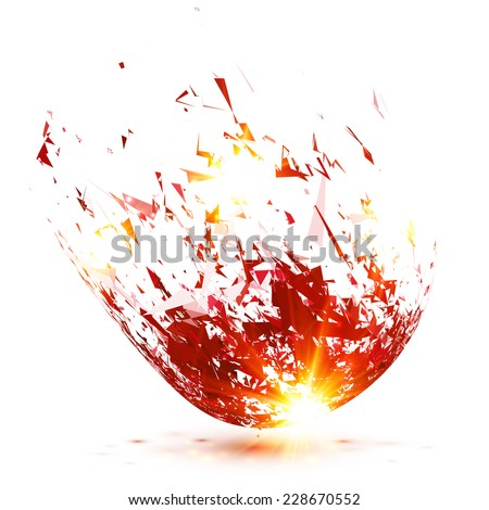 Red abstract meteorite vector explode - stock vector
