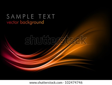 red abstract ornament on the dark background - stock vector