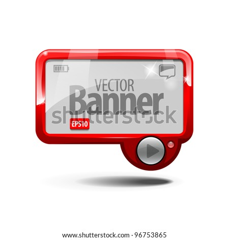 Red Abstract Shiny Glass Banner. eps 10 - stock vector