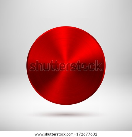 Red abstract technology circle button template with metal texture (chrome, steel, silver, copper), realistic shadow and light background for web user interfaces (UI) and applications (apps). - stock vector
