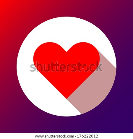 Red abstract Valentine's heart sign, blank button template with flat designed shadow and gradient background for internet sites, web user interfaces (ui) and applications (apps). Vector. - stock vector