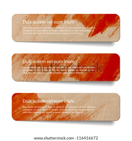 Red abstract vintage old paper banners / stickers / badges with hand painted brush strokes background - stock vector