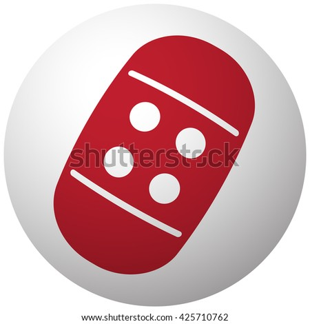 Red Adhesive Bandage icon on white ball - stock vector