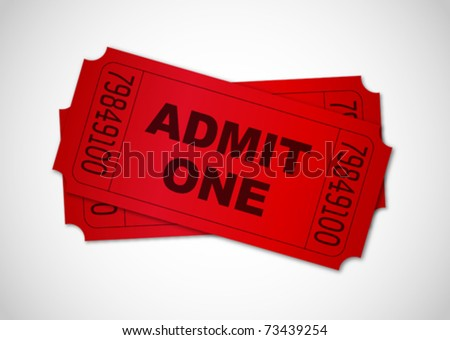 Red admit one tickets - stock vector