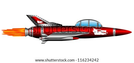 Red air fighter isolated on white background - vector - stock vector