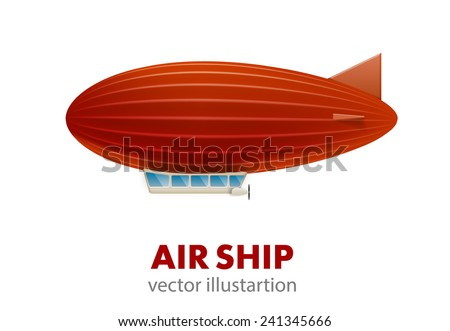 red air ship isolated on white - stock vector