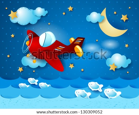 Red airplane over the sea, vector - stock vector