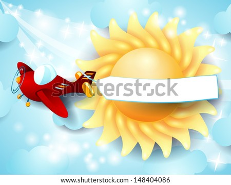 Red airplane with banner on sky background. Vector - stock vector
