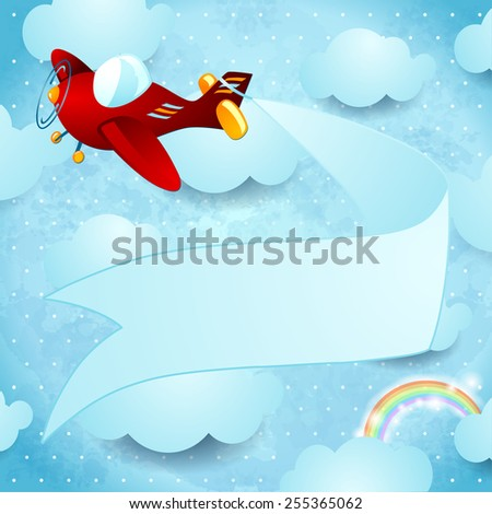 Red airplane with banner, vector eps10 - stock vector