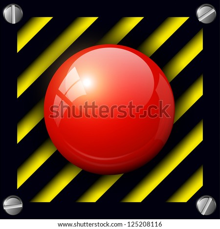 Red alarm button background, vector.