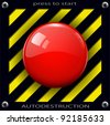 Red alarm shiny button background, vector. - stock photo