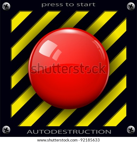 Red alarm shiny button background, vector. - stock vector