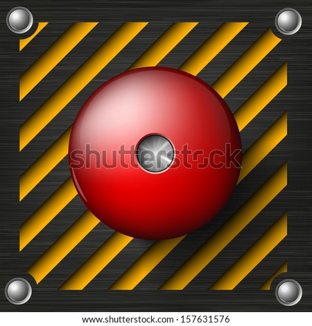 Red alarm shiny button on a tech beckground - stock vector