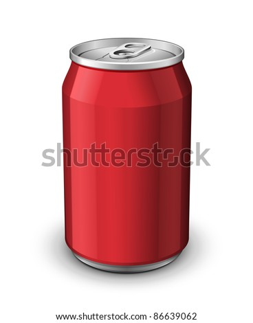 Red Aluminum Can: Vector Version - stock vector