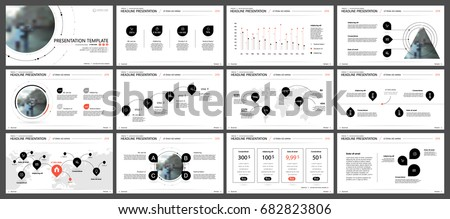 Red and black elements for infographics on a white background. Presentation templates. Use in presentation, flyer and leaflet, corporate report, marketing, advertising, annual report, banner.