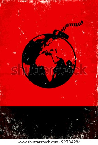 Red and black poster with bomb and the globe