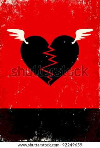 Red and black poster with broken heart - stock vector