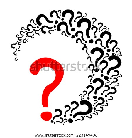Red and black question mark poster. Vector Illustration - stock vector