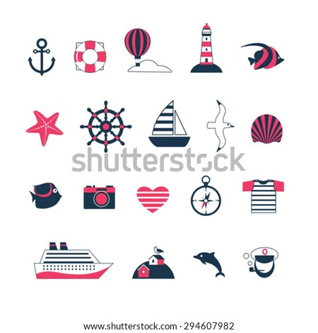 red and black set of sea cruise vector icons  - stock vector